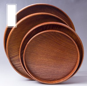Madera redonda de platos de sushi plato del alimento fruta del té de la torta hecha a mano la placa de cena de madera para el postre Sushi Snack-Bandeja para servir