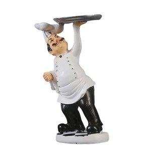 Resina ornamentos decorativos, decoração da cozinha, Cook Estátua, Francês Chef Figurines