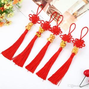 Noeud chinois bricole rouge vif voiture Hanging ornements haut Jubilation année Pendentif Manuel Weave Fête du Printemps 1 6xxC1