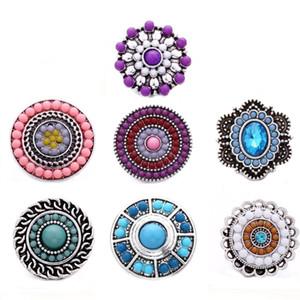 Braccialetto d'argento 10pcs / lot del nuovo Snap pulsante gioielli Beads Mini 18 millimetri Bottoni strass Fiore di corda cera DIY metallo