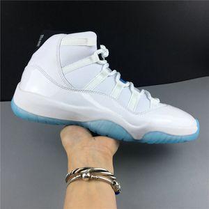 La meilleure qualité 11 Blanc Noir Légende Bleu Chaussures de basket Designer classique XI réel en fibre de carbone Mode Sport Chaussures bateau ETUI