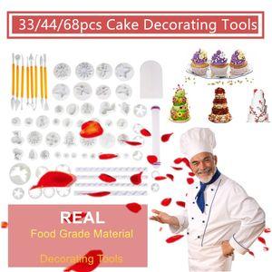 Nueva 68pcs 33 46 Herramientas de Sugarcraft de azúcar que adorna la pasta de azúcar del émbolo cortadores de galletas para hornear galletas Masa Palo de amasar molde de la torta del sistema completo