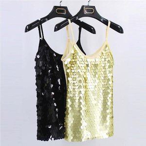 Women Sequin Stitching Sleeveless T-shirt 2020 Hot Sale Tops Female Tees T Shirt Gold Black Dance Party Club