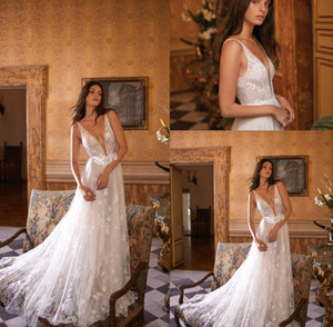 Gali Karten New Beach Wedding Dresses Deep V Neck Lace Appliques Bridal Gowns Bohemia Plus Size Wedding Dress robe de mariée