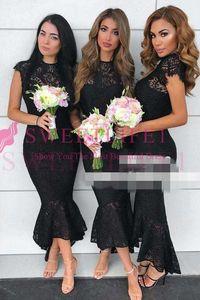 2020 Black Lace Tea Length Bridesmaid Dresses Jewel Neck Short Sleeve Mermaid Maid of Honor Wedding Guest Gown Custom Made