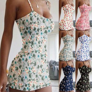 Sexy Women Boho Floral Printed Summer Dress 2019 Party Evening Beach Holiday Suspender Short Mini Dress Sleeveless Sundress S-5XL 00
