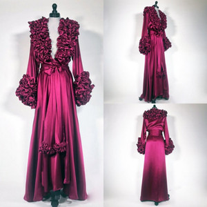 2019 Novas Vestes de Casamento Sexy Vestidos de Cetim Longo Robe Spa Nupcial Flor Em Camadas De Pescoço De Noiva Sleepwear Camisola Roupões De Banho