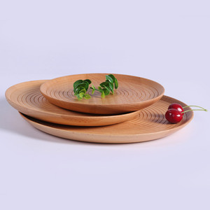 Platos de la cocina casera Negro Walnut Seguridad Alimentaria Heathy madera pan postre redondo bandejas de frutas verduras torta de la pizza Anti Slip Plate Haya VT1617 T03
