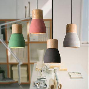Modern Concret Kapalı Led Sarkıt İskandinav Çimento Ahşap Yaratıcı Asılı Işıklar Fikstür Armatür Restoran Mutfak Lighting-I39