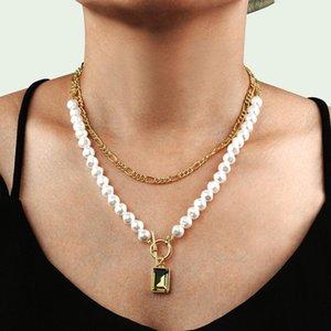 Fashion Popular Pearl Multi-layer Necklace Accessories Personality Trend Rhinestone Pendant Necklace Women