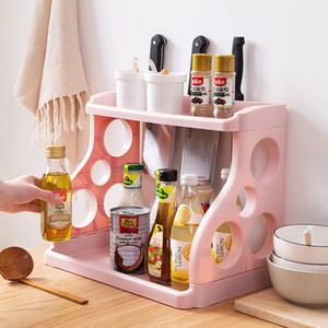 Basit 2 Katmanlar Mutfak Dolabı Dolap Organizatör Ayarlanabilir Mutfak Depolama Raf Spice Tezgah Organizatör Kabine Rack
