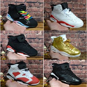 enfants chaussures de basket-ball boygirl noir rouge infrarouge Carmine j 6 6s UNC Toro Hare Oreo jeunes enfants sport Chaussures de sport taille EU28-35