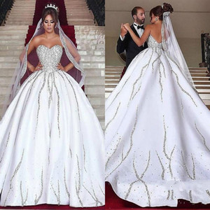 Luxueux Bling Perles Cristal Dit Mhamad Robes De Mariée Satin Sweetheart Arabe Robe De Noiva Robe De Mariée Balle Pour La Mariée Plus La Taille