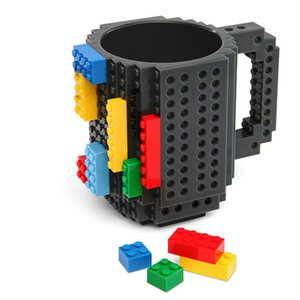 DIY Building Blocks Cup Coffee Mug Drinking Cup Build-on Brick Mug Travel Kids Adult Cutlery Drink Dinnerware Set for Child Gift
