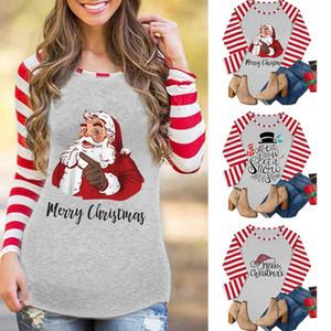 عيد الميلاد مخطط قمصان 10 أنماط النساء المرقعة بلايز بلوزات سانتا كلوز رسالة مطبوعة كم طويل بنات تي شيرت OOA7435