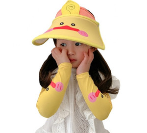 Free Shipping 2020 New Fashion Lovely Summer Animals Printed Kids Hats Outdoor Sun Protection Caps and Icy Cold Sleeves Sets