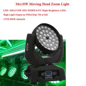 NUOVO arrivo 36x18W LED Moving Head Zoom 6IN1 RGBWA / UV Hight luminosità LED DMX512 per DJ Disco Christmas Stage Lighting