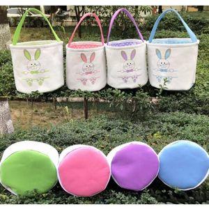 Easter Basket Canvas Easter Rabbit Baskets Hasenohren Eimer Rabbit Tail Pail Neueste Ostereier Hunt Bag 4 Colors
