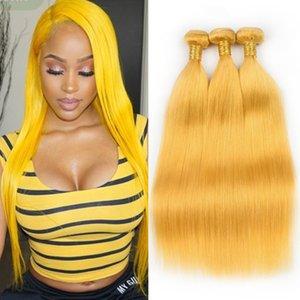 """Pure Yellow Hetero Peruano Cabelo Humano Weave Bundles 3 Pcs 300 Gramas Amarelo Colorido Virgem Do Cabelo Humano Wefts Extensões de Cabelo Em Linha Reta 10-30 """""""