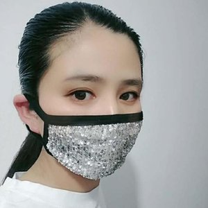 Parlak Sequins Yüz Nefes Yıkanabilir PM2.5 Yüz Ağız Yeniden kullanılabilir Pamuk Koruma Masker Anti-Dust Masker Karşıtı Kirliliği Maske Maske