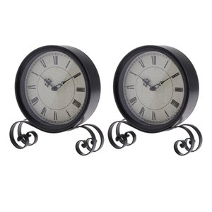 2x Battery Operated Antico Bracket Clock Round Table Desk Clock Home Art Clock