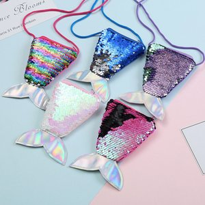 Women Mermaid Tail Sequins Coin Purse Girls Crossbody Bags Sling Money Change Card Holder Wallet Purse Bag Pouch For Kids Gifts