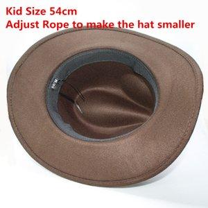 Retro Beige Scorpion Knitted Band Parent-child Women Men  Kid Wool Wide Brim Cowboy Western Hat Cowgirl Bowler Cap (57cm 54cm)