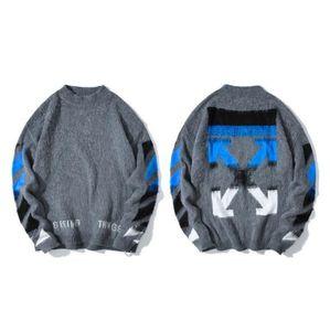 hommes de mode en tricot chandails de haute qualité marque deux pull automne hiver gris bleu dégradé mohair Pull en maille