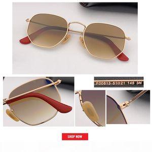 top Designer 51mm size hexagonal Sunglasses Women Fashion Flat lens mirror Gradient Glasses Men Gafas De Sol women uv400 factory Price