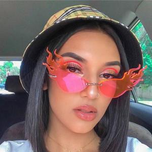 Óculos de sol chama Mulheres sem aro Cat Sunglass Eye lado largo do vintage da mulher dos óculos 2020 Red Sun Glasses Homens
