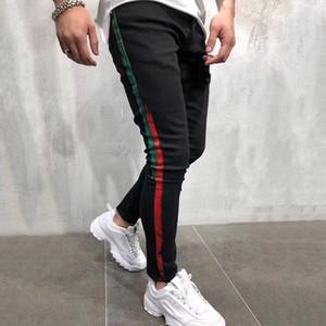 Neue Art und Weise Mens zerrissene Jeans Herren Stylist Kleidung Qualitäts-Breathable Denim Hosen-Mann-Farbstreifen-Druck Jeans