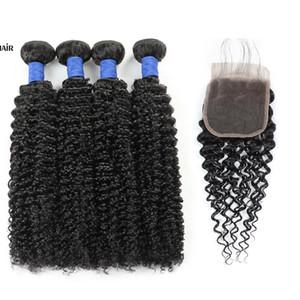 Kapatma ile Perulu İnsan Saç atkıların 10A Brezilyalı Saç İnsan Saç Paketler ile Kapatma Kinky Kıvırcık Toptan 4bundles