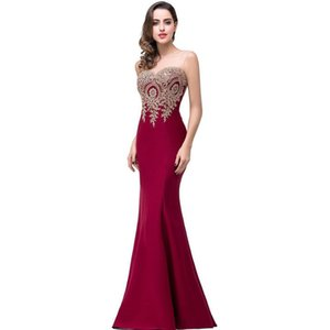 Sheer Scoop Neck Chiffon Mermaid Evening Dresses with Embroidery 2019 Long Evening Gowns Open Back Party Dress In Stock