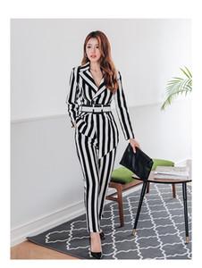 Long Sleeve 2020 neue Qualitäts-schwarze weiße gestreifte zweiteilige Ausstattungs-elegante Frauen Langarm Unregelmäßige Top + hohe Taillen-Bleistift-Hosen-Set