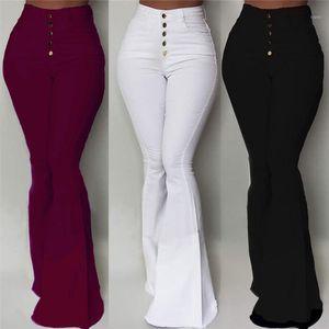 Calças Gaoke Branco-de-sino Mulheres Botão cintura alta Alargamento Pants New calças slim Casual Trabalho elegante Pantalon Femme1