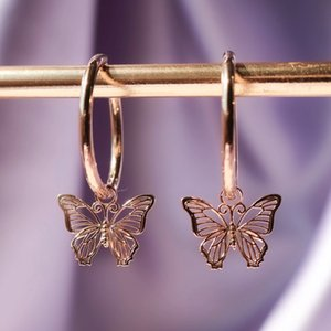 Delicate Rose Gold Color Butterfly Women Drop Earring Cute Bow Hoop Wedding Dancing Party Daily Wear New Trendy Jewelry
