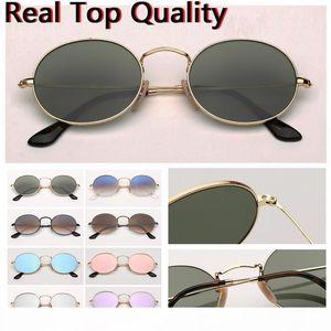 Gafas de sol de diseñador de gafas de sol de metal ovalada Real Principales gafas de sol de marca de calidad oval redondo para hombre de las mujeres con la caja de cuero, tela, todo !!