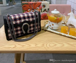 Designer Luxus-Handtasche gute Qualität Große Beuteltasche des Segeltuchmaterial Muster Designer-Handtaschen Damenmode Kettenbügel Schultertaschen