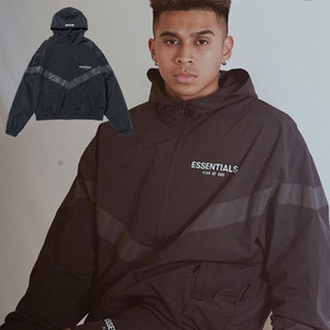FG 19SS Fear Of God FOG ESSENTIALS 3M Reflective Windbreaker Hooded Jackets Men Women Casual Street Hip Hop Coat Fashion Outwear