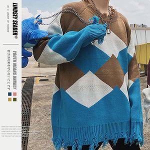 Women Mens Mens Sweaters Pullover Knit Fall Coat Sweater Asymmetrical Hem Rhombic Rhombus Cotton Warm Winter Inside Outwear