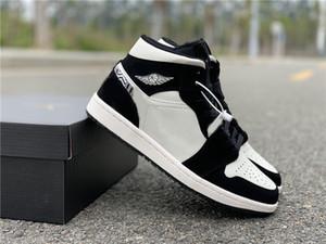 Venda quente Alta OG 1 Mid BHM Homens Mat Tint calçados casuais 852542-010 Branco Preto Calçados Esportivos Tamanho 5.5-12