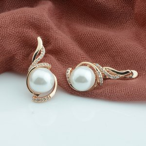 FJ 2 Color Women Beauty 585 Rose Mixed White Gold Color Simulated Pearl Earrings White Cubic Zircon Flowers Drop Earrings
