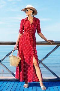 Long Sleeve Wave Point Chiffon Dress Beach Elegant Ladies Casual Bohemian Dress Autumn Winnter Retro LJJV20