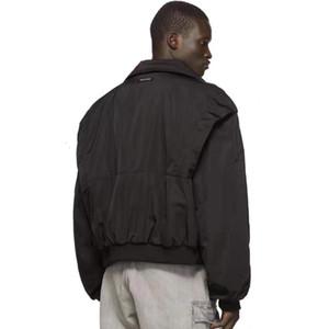 FOG Fear Of God algodón acolchada chaquetas rompevientos bolsillo con cremallera Negro Hombres Mujeres Escudo de la calle del resorte ocasional otoño invierno Outwear HFHLJK074