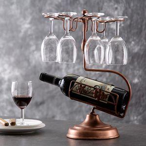المعادن النبيذ الرف، حامل النبيذ الزجاج، كونترتوب الحرة الوقوف 1 زجاجة النبيذ حامل التخزين مع 6 حامل الزجاج، مثالية عيد الميلاد هدية لمحبي النبيذ