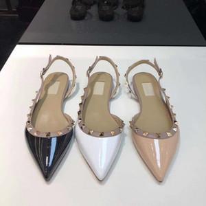 유행 송아지 가죽 샌들 럭셔리 인기 리벳 누드 블랙 화이트 하이힐은 여성 섹시한 지적 플랫 신발 편안 6.5cm의 9.5CM