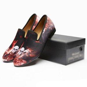 Новые Высокие Скелет Мужская Обувь мужские металлические закругленные пальцы скольжения на ботинки Paty Мода Мужчины Мокасины мужские Квартиры Размер