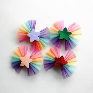 20 pcs Novos Grampos de Cabelo Do Bebê Meninas PU-Couro Estrelas Amante Coração Grampos de Cabelo Crianças Headwear Rainbow Gaze Arcos Crianças Acessórios Para o Cabelo
