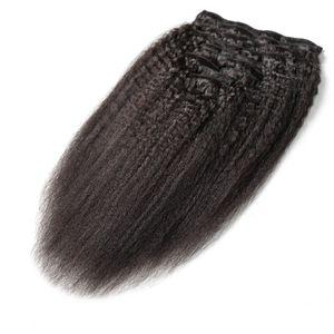 9pcs / set 브라질 인간의 머리카락 연장 120p 9pcs / 세트 킨키 스트레이트 클립 굵은 구이 머리카락 확장 머리카락이 싼 인간의 레미 헤어