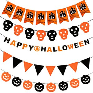 10 teile / satz Kürbis Pull Flag Halloween Dekorationen Hexe Fledermaus Hohl Flagge 19 Stil Partei Liefert Bar Home Arrangement Halloween Fahnen HA551